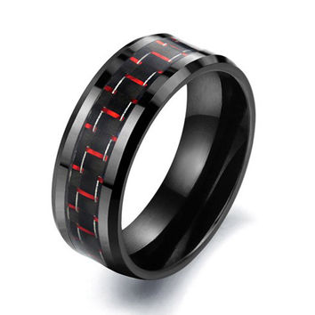 Carbon Fiber Ceramics Black Ring SOS