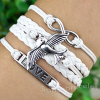 White leather cord bracelet - friendship LOVE bracelet - silver bird bracelets - infinity bracelet - for girlfriend and BFF