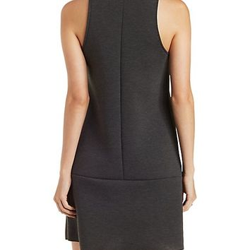 Mock Neck Scuba Knit Shift Dress