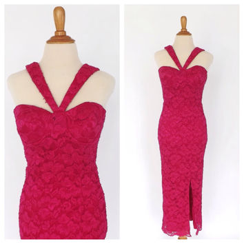 Vintage Sexy 1980s does 1950s 60s Wiggle Dress Hot Pink Party Cocktail Dress Petite Small 80s Prom Bridesmaid Marilyn Monroe Lace Gown
