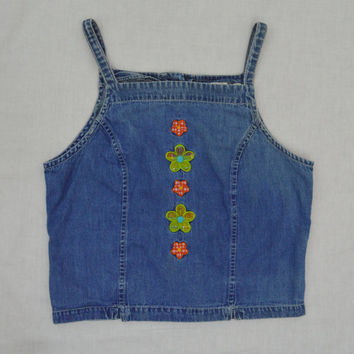 Denim Tank Vintage 90s XS Dasiy Soft Grunge Hippie Spaghetti Strap Button Up Back Girls Size 1990s Vintage Clothing Psychedelic Hipster