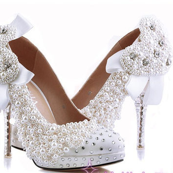pearl Bridal wedding shoes platform pumps custom made party evening shoes dress shoes Plus Size 34-43 Graduation Prom Shoes