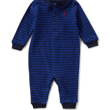 Ralph Lauren Childrenswear Baby Boys 3-12 Months Striped Jersey Coverall | Dillards