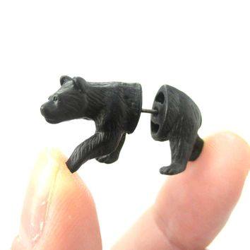 Fake Gauge Earrings: Realistic Black Bear Shaped Animal Themed Faux Plug Stud Earrings
