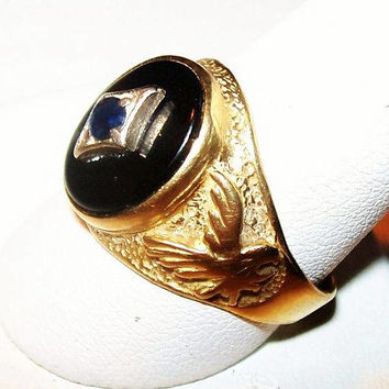 "Sapphire 10K Gold Eagle Ring Black Onyx Stone Mans Size 10 1/4"" Vintage"