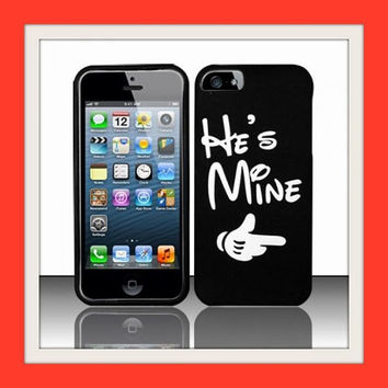 Mickey Apple iPhone 6 fitted Case Love quote He's Mine / She's Mine pair of  2 cases *UNIQUE LOVERS GIFT* set of 2