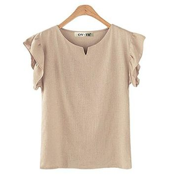 FINCATI Shirts Women Textured Tops V Neck Button Down with Pocket Loose T Shirt Plus Size