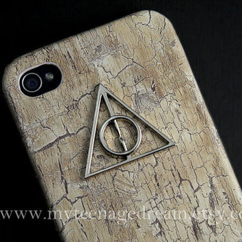 Iphone 4 Case, iphone 4s case, harry potter Iphone Case, Deathly Hallows, white wood Hard iphone Case