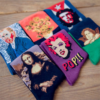 3D Fashion Art Cotton Crew Socks of Painting Character Pattern for Women Men Harajuku Design Sox Calcetines VanGogh