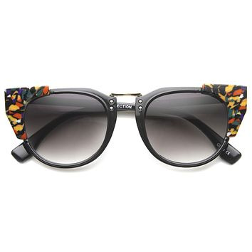 Women's Indie Flat Top Cat Eye Pattern Sunglasses 9986