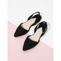 Pointed Toe Suede Slingback Flats Black