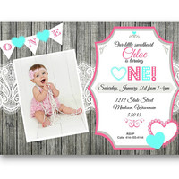 Valentine's Day Birthday Invitation 1st valentines invite hearts purple teal pink birthday photo wood rustic lace vday sweetheart our little