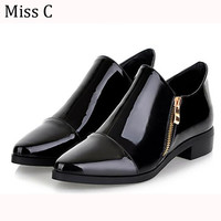 Womens Shoes Flats 2016 Spring Dress Patent Leather Pointed Toe Shoes Double Zipper Oxfords Ankle Boots Big Size 34-42 WFS76