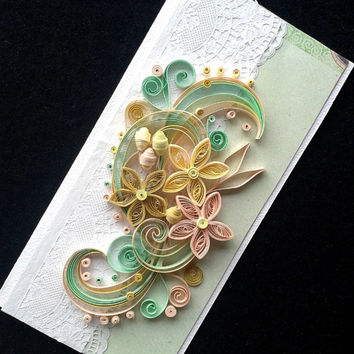 Unique handmade greeting card, Wedding greeting card, Valentines day greeting card, Birthdaygreeting card, Quilling card