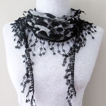 Scarf Trending Scarf Winter Scarf Women Scarf Fashion Accessories Scarf Holiday Gift Ideas Fringed Guipure
