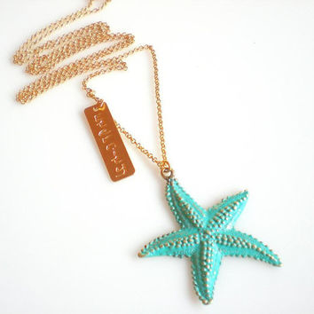 Long Gold Necklace Turquoise Starfish Pendant Eternity Matte Gold Tag Friendship   Necklace Boho Chic