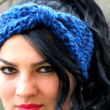 Knotted Headband Knitted Turband Ear Warmer in Blue. Ear Warmer, Head Dress, Winter Fashion, Hair Bands Hair Coverings for Women
