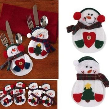 MDIGMS9 Snowman Christmas Xmas Silverware Tableware Dinner Party Decor Cutlery Holder (Color: White) [8270472897]