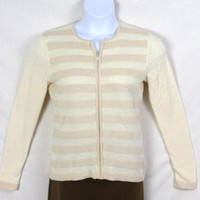 Sutton Studio Sweater M size Womens Bloomingdales Zip Cardigan Ivory Mixed Knit