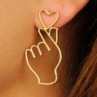1 Pair of CUTE Finger Heart Alloy Earrings