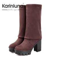 KarinLuna Sale Big Size Platform Shoes Women Thick High Heels Winter Shoes Sexy Over The Knee Thigh High Boots Woman Long Boots