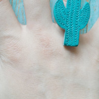 Turquoise Cactus Ring / Repurposed Jewelry / Clay Cactus Ring / Western Jewelry / Desert Theme Jewelry / Southwest Jewelry / Affordable Ring