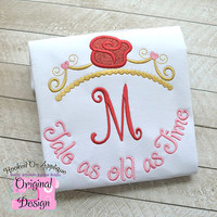 Beauty & the Beast Belle Princess Inspired Monogram Tiara with Phrase - Princess Movie - Custom Tee
