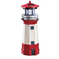 Solar Nautical Lighthouse Statue with Spinning Light, Ocean and Beachhouse Inspired Decor, Red