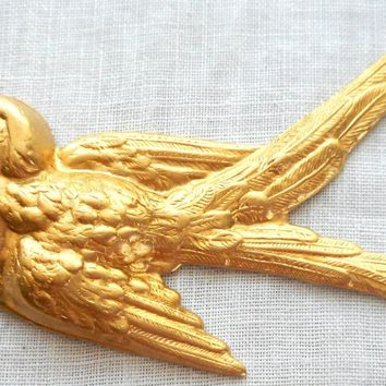 One large raw brass Flying Bird, Sparrow pendant, charm, brass stamping, 74mm x 52mm made in the USA, C2601