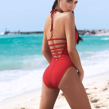 Zip Up One Piece Swimsuit