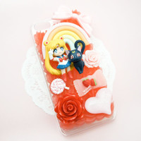 CUSTOM ORDER Sailor Moon and Luna Whip Cream Decoden Case Handmade Custom