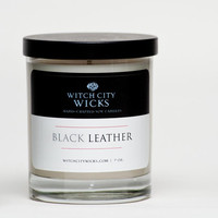 Black Leather scented soy men's candle Father's Day / Groomsmen Gift / Men's gift idea
