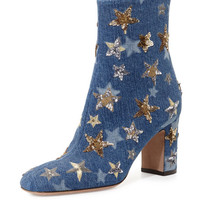 Valentino Star-Studded Denim Ankle Boot