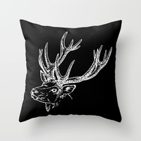 HOLIDAZE Christmas Deer Black White Throw Pillow by Beautiful Homes