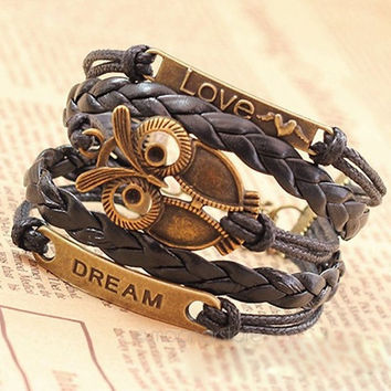 Multi-Layer PU Leather Bangle Bronze Owl Wristband Bracelet (Size: M, Color: Black) = 1932530052