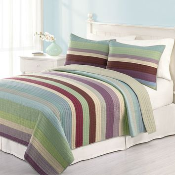 Home Classics Audrey Striped Quilt - King (Blue)
