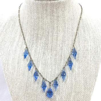 Blue Crystal Necklace, Art Deco Dangle Necklace, Bicone & Briolette Crystals, Paper Clip Chain, 1920s, Wedding Jewelry, Antique Jewelry
