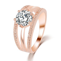 Gold/Silver Plated Austrian Crystal Ring For Women Wedding Love Engagement 2 Colors