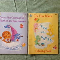 Vintage Coloring Book Set, Care Bear Coloring Books, 1980s American Greeting Kids Activity Books, Happy House Books