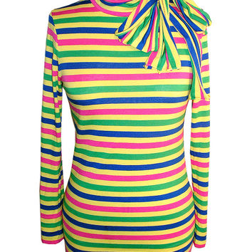Neon Stripe Turtleneck Top