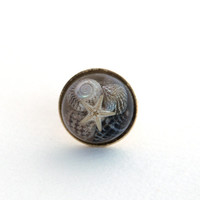OOAK handmade gold nautical adjustable ring, with tiny shells and a starfish encased in resin