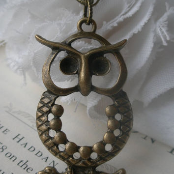 SALE-Owl necklace- Large owl necklace- Bird- Nature- Fashion necklace- Owl on a branch