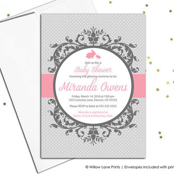 Wood baby shower invitations baby girls from willowlaneprints on unique baby shower invitation girls pink and gray printable baby shower invites girls filmwisefo Choice Image