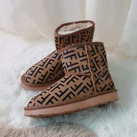 FENDI 2018 winter new non-slip short boots warm snow boots Coffee