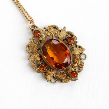 Vintage Art Deco Simulated Citrine Pendant Necklace - 1930s Brass Orange Brown Faceted Glass Filigree Leaf Costume Jewelry
