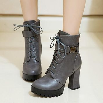 Round Toe Martin Lace Up High Chunky Heel Short Boots