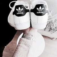 """Classic Shoes """"Adidas"""" Classic of Any Age Fashion White Shell-toe Flats Sneakers Sport Shoes"""