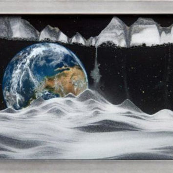 Moving Sand Art Picture Apollo 17 Earth in Frame in Movie Series