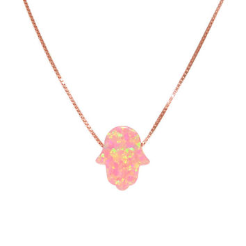 Cute Pink Opal Hamsa Sterling Silver necklace Pendant amulet