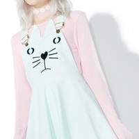 Mint Chip Kitten Overall Dress